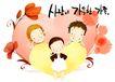 幸福家庭生活0048,幸福家庭生活,彩绘人物情景模板,心型 爱心 庞爱