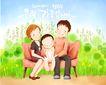 幸福家庭生活0049,幸福家庭生活,彩绘人物情景模板,沙发 休息 公园