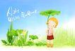 幼童写真0021,幼童写真,彩绘人物情景模板,荷叶 花丛 水珠 太阳伞 盛夏