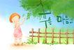 幼童写真0023,幼童写真,彩绘人物情景模板,篱笆 树叶 摘取 树荫 好奇 小孩 小朋友 两小无猜 童年 稚童 童话 玩乐 玩耍 彩绘