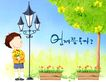 幼童写真0034,幼童写真,彩绘人物情景模板,灯具 鲜花 盆栽