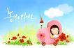 幼童写真0036,幼童写真,彩绘人物情景模板,云儿 车子 人力车
