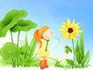 幼童写真0043,幼童写真,彩绘人物情景模板,花语 看花 荷叶