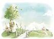 惬意情景0052,惬意情景,彩绘人物情景模板,木栏 木桩 木牌