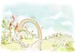 惬意情景0055,惬意情景,彩绘人物情景模板,彩虹桥 吉尼斯世界乐园 儿童世界