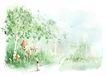 惬意情景0061,惬意情景,彩绘人物情景模板,乡间 林地 小路