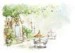 惬意情景0062,惬意情景,彩绘人物情景模板,露天 小桌 休闲
