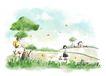 惬意情景0071,惬意情景,彩绘人物情景模板,草丛 蝴蝶 飞舞