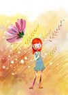 惬意情景0078,惬意情景,彩绘人物情景模板,大风 吹拂 秋草