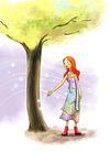 惬意情景0079,惬意情景,彩绘人物情景模板,大树 底下 女孩