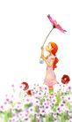 惬意情景0082,惬意情景,彩绘人物情景模板,手举 花冠 烂漫
