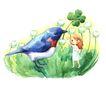 拇指女孩与花0001,拇指女孩与花,彩绘人物情景模板,大鸟 招手 绿茵 对比 大小