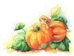 拇指女孩与花0006,拇指女孩与花,彩绘人物情景模板,南瓜 收获 橙黄 巨大 拥抱