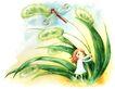 拇指女孩与花0008,拇指女孩与花,彩绘人物情景模板,蜻蜓 童趣 摇晃 茅草 嬉戏