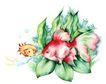 拇指女孩与花0011,拇指女孩与花,彩绘人物情景模板,金鱼 招手 水草 气泡 水底