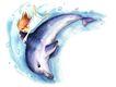 拇指女孩与花0017,拇指女孩与花,彩绘人物情景模板,海豚 嬉戏 游水