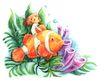 拇指女孩与花0028,拇指女孩与花,彩绘人物情景模板,水底 浮游 小鱼