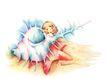 拇指女孩与花0035,拇指女孩与花,彩绘人物情景模板,带刺 骨头 小女孩