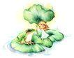 拇指女孩与花0040,拇指女孩与花,彩绘人物情景模板,青蛙 荷叶 荷塘