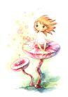 拇指女孩与花0044,拇指女孩与花,彩绘人物情景模板,蘑菇 坐着 吹风