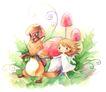 拇指女孩与花0046,拇指女孩与花,彩绘人物情景模板,玩伴 随行 领路