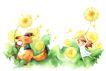 拇指女孩与花0047,拇指女孩与花,彩绘人物情景模板,松鼠 秋千 飘荡