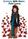 时尚人物0036,时尚人物,彩绘人物情景模板,长发 长袖 围巾