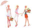 时尚人物0040,时尚人物,彩绘人物情景模板,装扮 包包 太阳伞