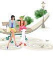 时尚人物0044,时尚人物,彩绘人物情景模板,街道 长椅 休息