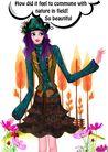 时尚人物0048,时尚人物,彩绘人物情景模板,蓝头发 丽人 佳丽