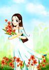 时尚人物0050,时尚人物,彩绘人物情景模板,花圃 采花 卡通人物