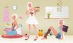 时尚人物0051,时尚人物,彩绘人物情景模板,女人世界 壁纸 坐地上