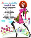 时尚人物0062,时尚人物,彩绘人物情景模板,黑丝 长统袜 后仰