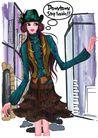 时尚人物0069,时尚人物,彩绘人物情景模板,少妇 英语 对白