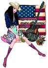 时尚人物0072,时尚人物,彩绘人物情景模板,吉它 美国 国旗