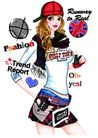 时尚人物0079,时尚人物,彩绘人物情景模板,运动型 美女 活力