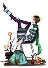 时尚人物0080,时尚人物,彩绘人物情景模板,翘起 大腿 踢脚
