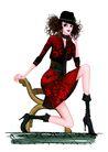 时尚人物0081,时尚人物,彩绘人物情景模板,半蹲 姿势 卷发