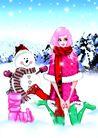 时尚人物0091,时尚人物,彩绘人物情景模板,冬天 寒冷 雪人
