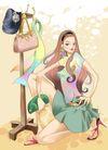 时尚女人0005,时尚女人,彩绘人物情景模板,短裙 丰满 拖鞋 挂架 蹲着