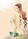 时尚女人0008,时尚女人,彩绘人物情景模板,养眼 挑逗 酒杯 钱包 圆润