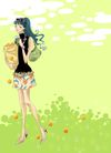 时尚女人0010,时尚女人,彩绘人物情景模板,柿子 美容 马尾辫 端庄 生活