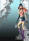时尚女人0012,时尚女人,彩绘人物情景模板,神秘 个性 野蛮 魔鬼身材 爵士帽