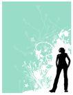 时尚藤图0088,时尚藤图,彩绘人物情景模板,黑色 人影 站立