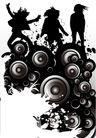 时尚藤图0089,时尚藤图,彩绘人物情景模板,黑影 三人行 崖壁