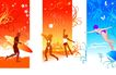 时尚藤图0095,时尚藤图,彩绘人物情景模板,海滩 娱乐 体育