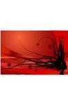 时尚藤图0114,时尚藤图,彩绘人物情景模板,黑草 蔓延 红底