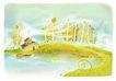 梦幻风景0001,梦幻风景,彩绘人物情景模板,炊烟 湖水 树苗 房子 树木