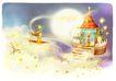 梦幻风景0003,梦幻风景,彩绘人物情景模板,城堡 宫殿 月亮 星星 飞行
