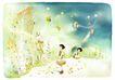 梦幻风景0005,梦幻风景,彩绘人物情景模板,秋风 落叶 童话 星星 愿望
